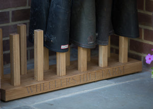 Personalised welly boot rack detail