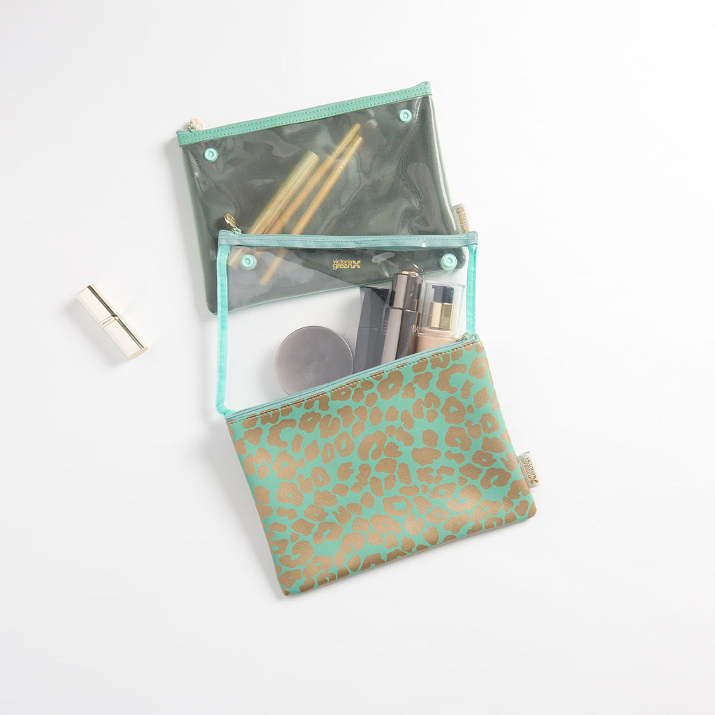 gift ideas for her Amy travel makeup bag in sections jade by Victoria Green