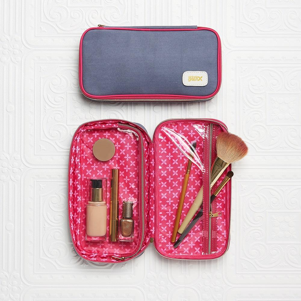 large makeup bag with compartments