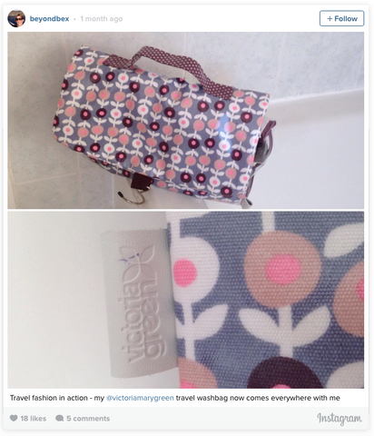threefold hanging wash bag in lorton smoke print