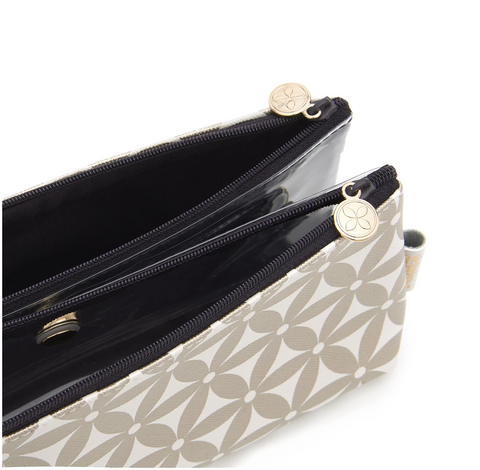 Folding makeup bag with compartments