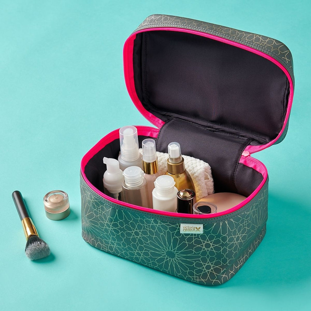 inside of vanity case with full size products