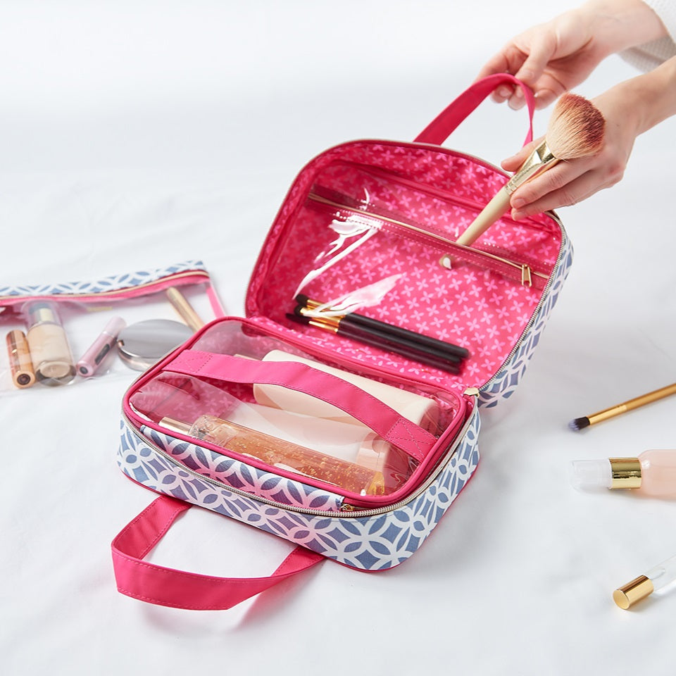 designer makeup bags and wash bags with compartment for travel