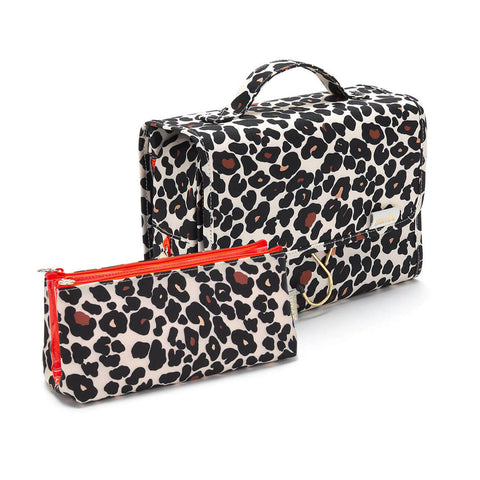Hanging wash bag in leopard print and folding makeup bag in leopard print gift set for women