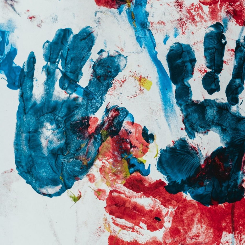 Kids hand print art for how to get organised this month July