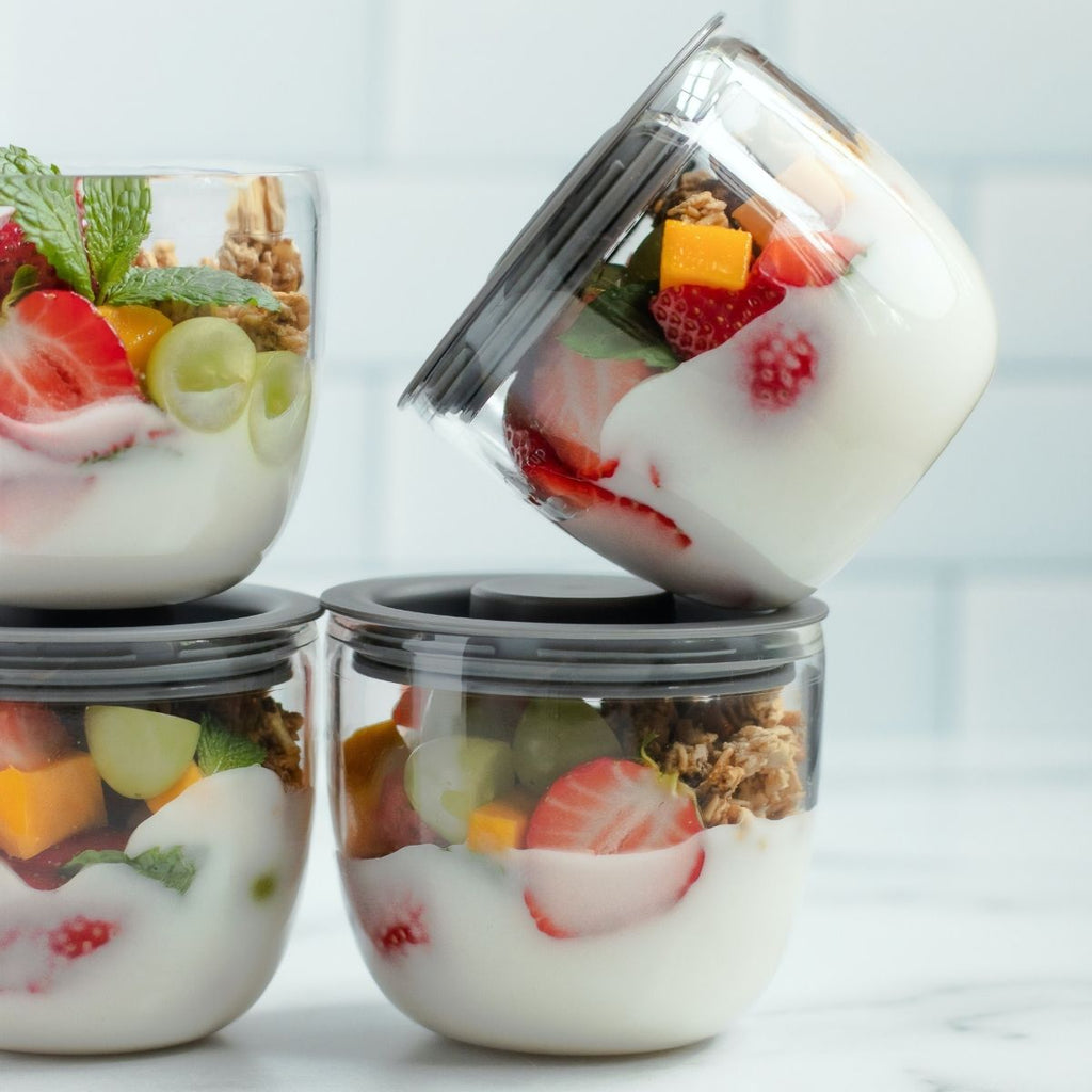Glass jars of yoghurt and fruit for How to get organised this month July