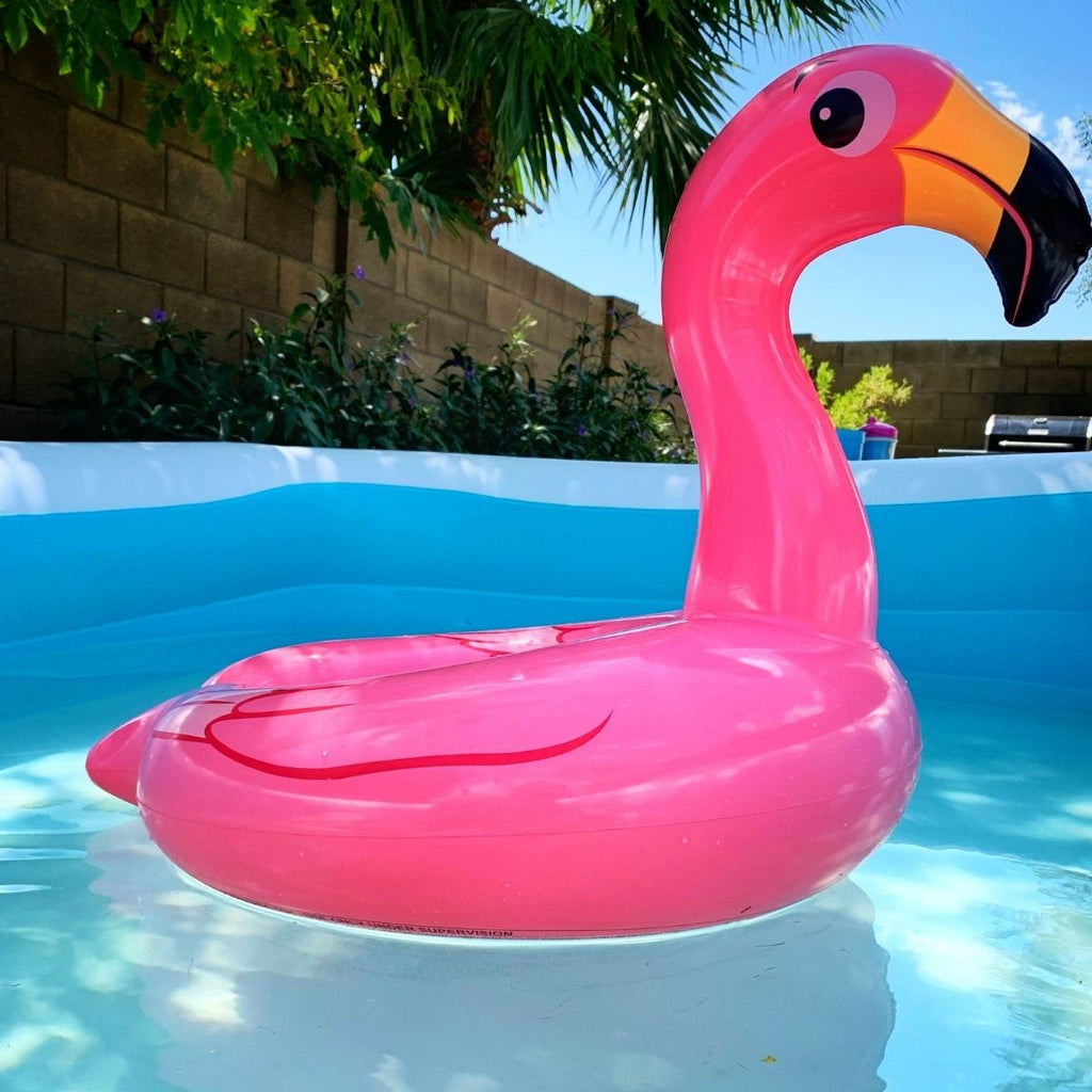 Inflatable pink flamingo for how to be organised in June