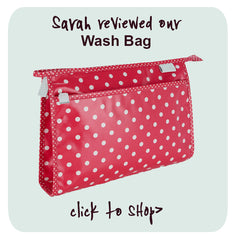 wash bag in red polka dot pattern