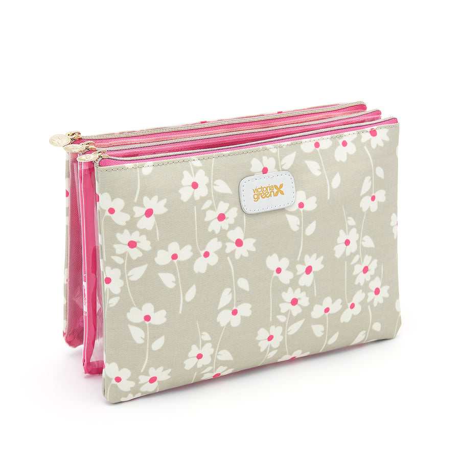 3 piece cosmetic bag set with has magnetic fastenings