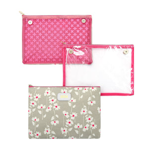 3 separate travel makeup bags including clear cosmetic bag