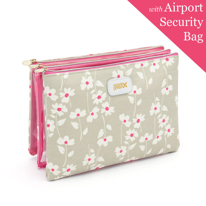 cosmetic bag with 3 pieces including a airport security bag
