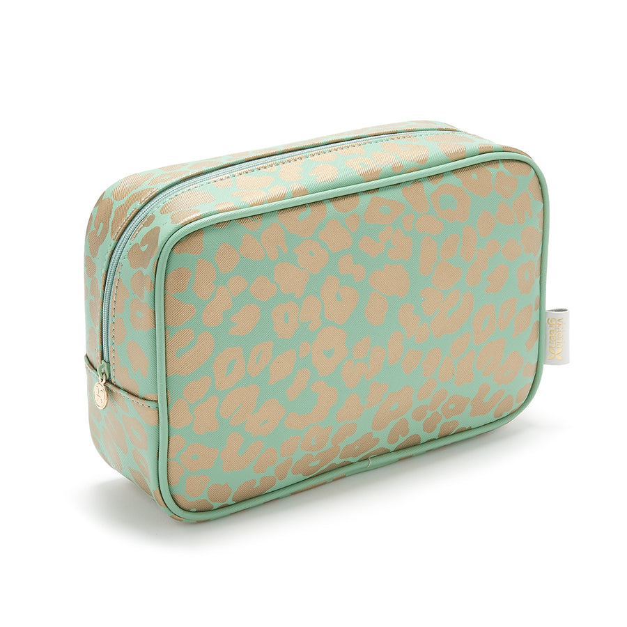 ladies wash bag in green and gold leopard print in waterproof fabric