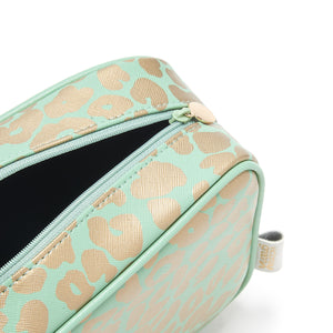ladies wash bag with waterproof lining in green and gold leopard print