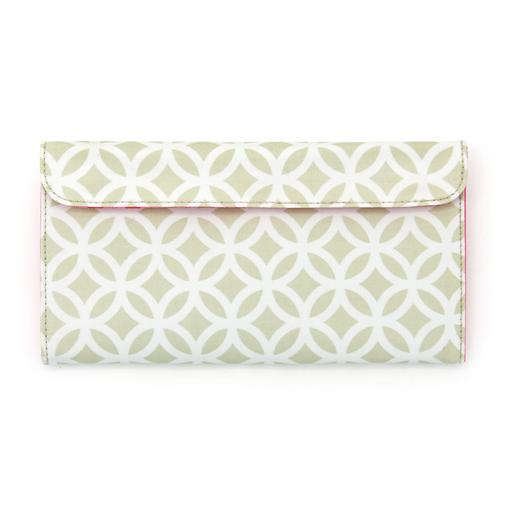 Makeup brush case in green geometric pattern