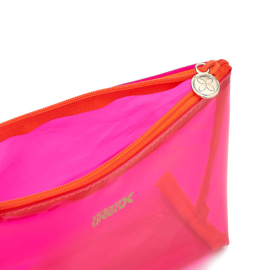 clear makeup bag pink with orange zip detail