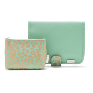 'Kate' Beauty Clutch + Small Makeup Bag Set in Jade