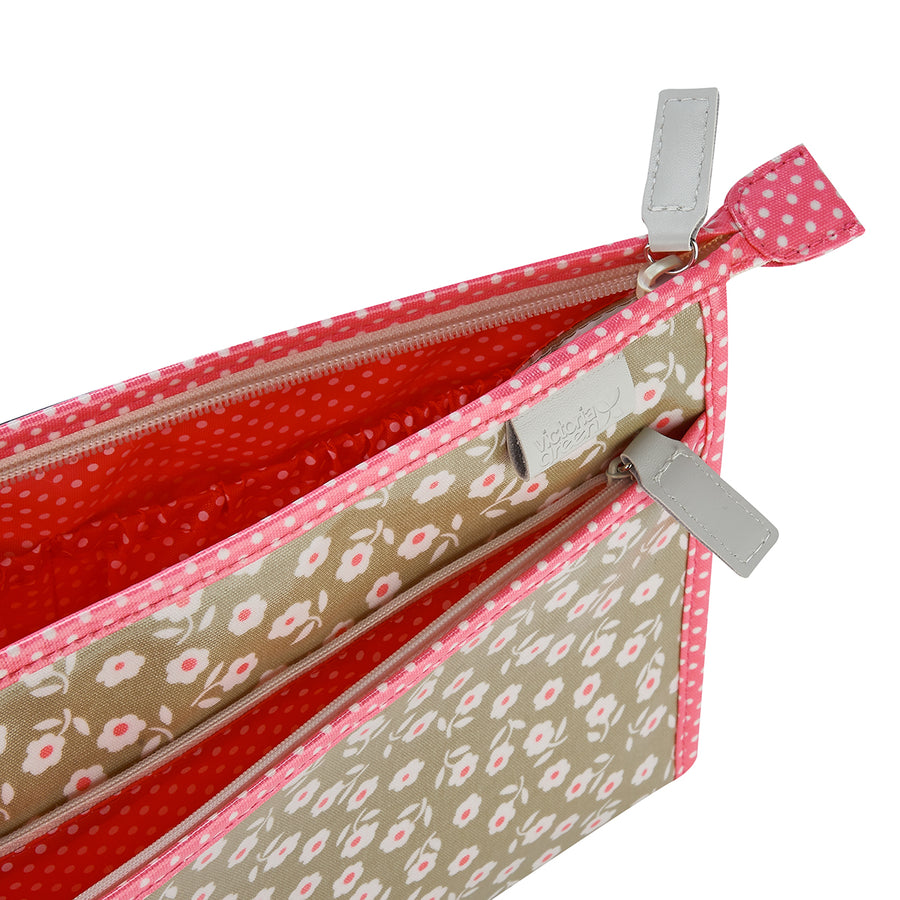 travel wash bag inside view in starflower sage print classic make up bag