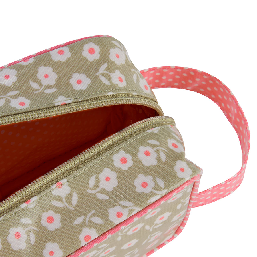 Travel toiletry bag close up inside detail in daisy sage print