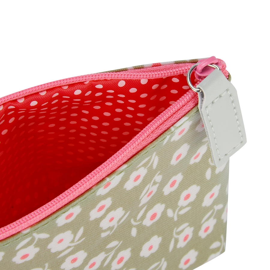 Makeup bags UK lined inside detail in daisy sage pattern