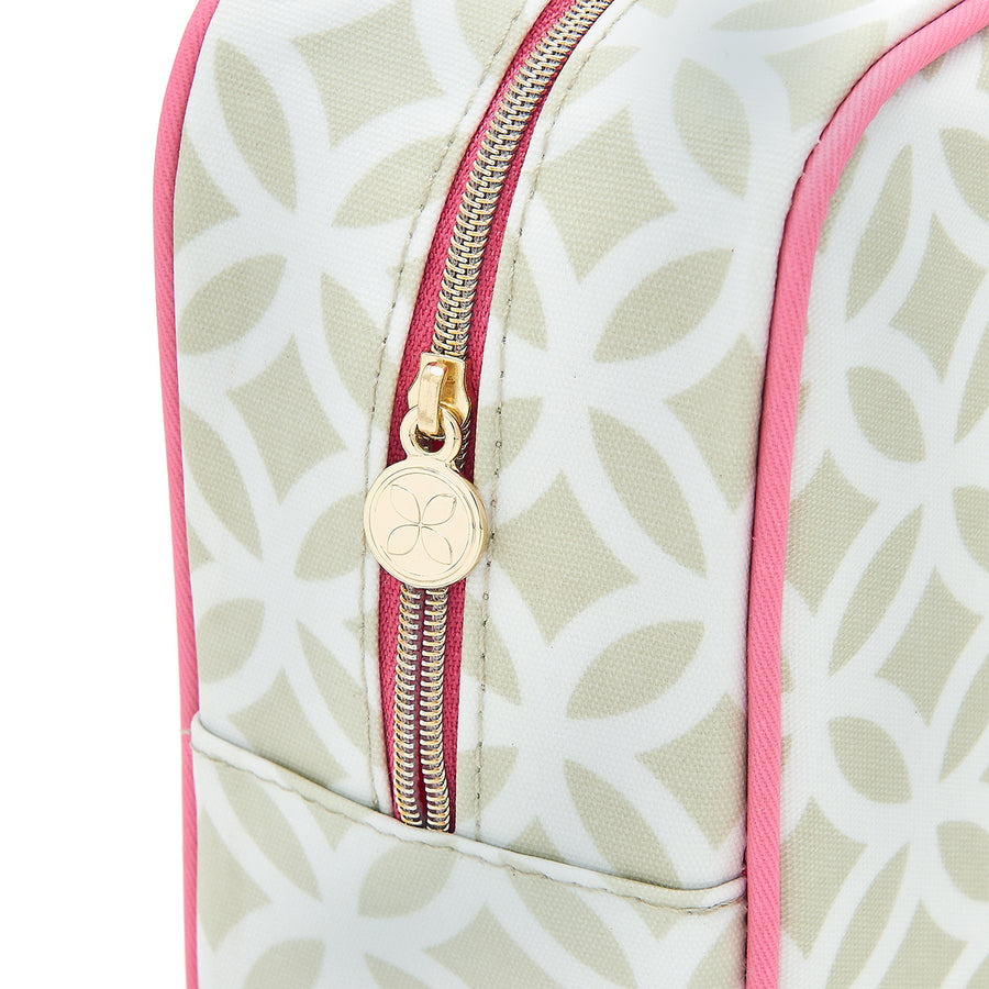 Detail of cosmetic case zip fastening