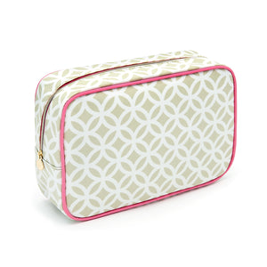 Cosmetic bag in green geometric pattern and pink trim