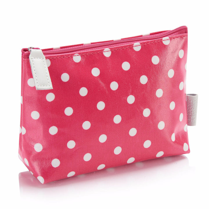 red polka dot make-up bag with zip pull