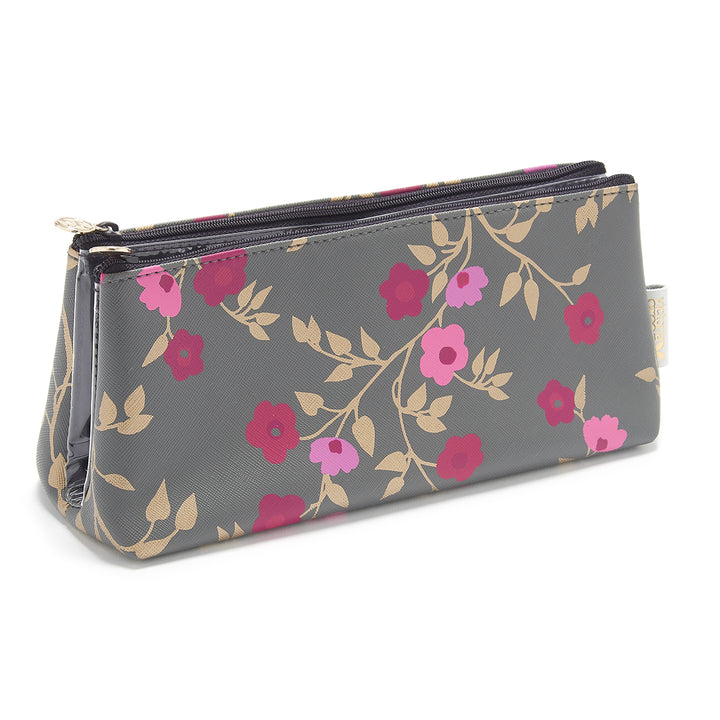 Cosmetic Bag with transparent compartments in charcoal blossom pattern