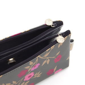 Folding makeup bag with separate compartments in charcoal blossom pattern
