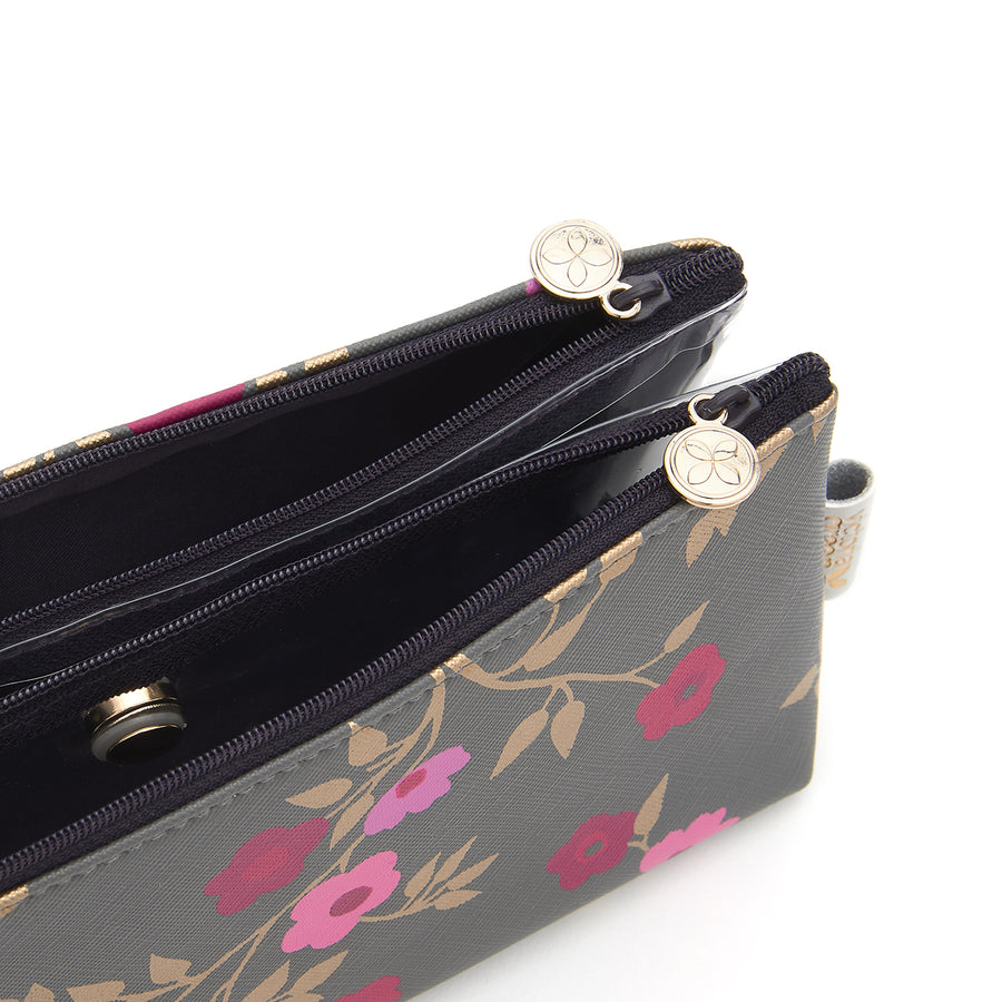 Cosmetic bag with separate compartments in charcoal blossom pattern