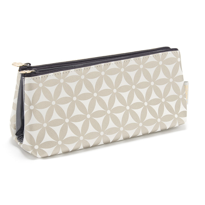 Cosmetic Bag with transparent compartments in gold pattern