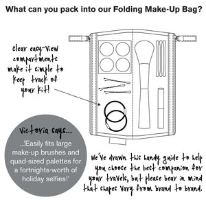 info graphic for folding makeup bag daisy sage