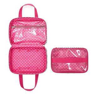 Beauty bag with train case insert interior with pink lining