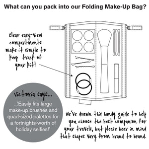info graphic of lorton smoke foldover make up bag interior