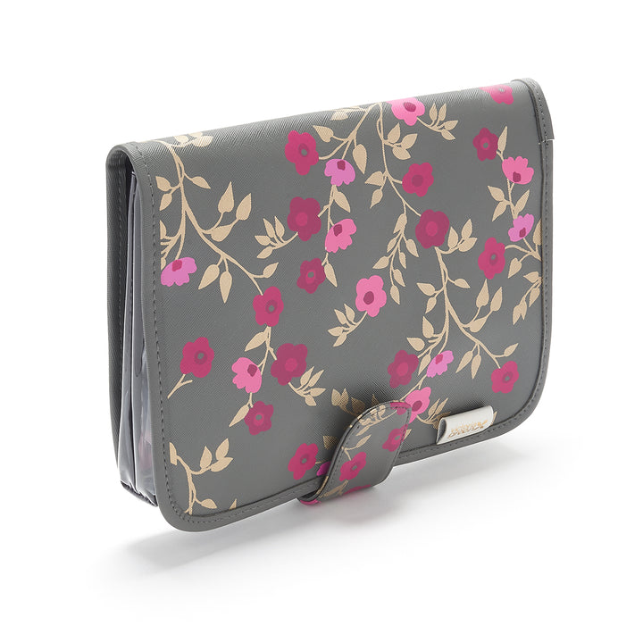 Hanging beauty makeup bag with clear travel pouch in charcoal floral pattern