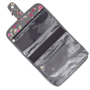 Kate Hanging wash bag with detachable travel pouch in charcoal floral pattern