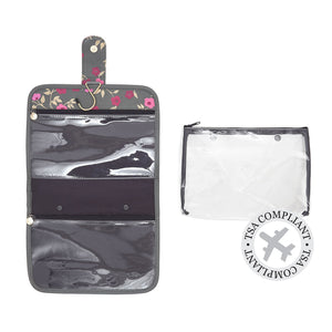 hanging wash bag with TSA approved airport security bag by Victoria Green blossom