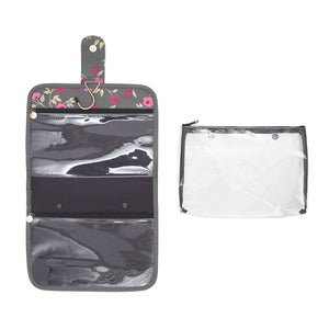 hanging beauty makeup bag with detachable clear makeup bag in floral pattern