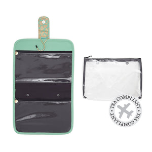 jade hanging wash bag with TSA approved airport security bag by Victoira Green