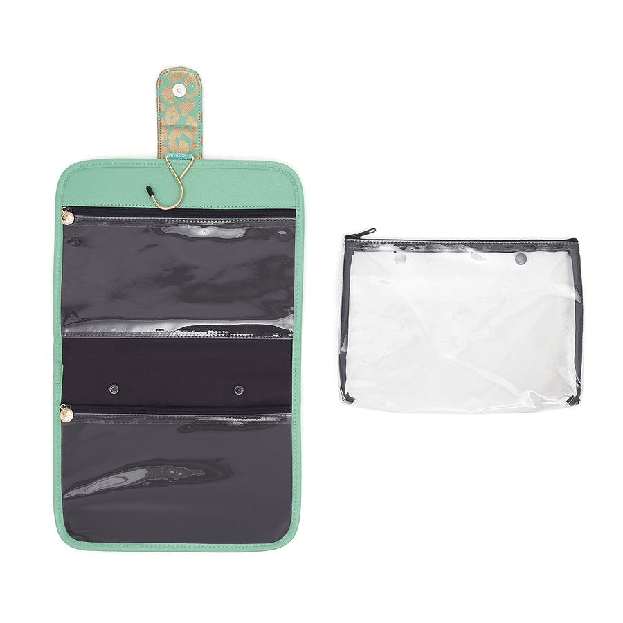 hanging beauty makeup bag with separate airport security bag in green