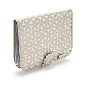 Hanging beauty makeup bag with detachable travel pouch in gold pattern