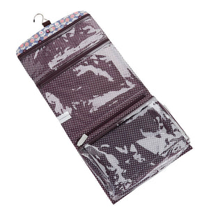 interior of hanging wash bag in lorton print with transparent compartments and hook