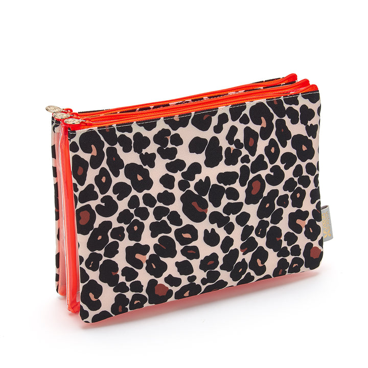 Amy travel makeup bag  with clear makeup bag in tan leopard print
