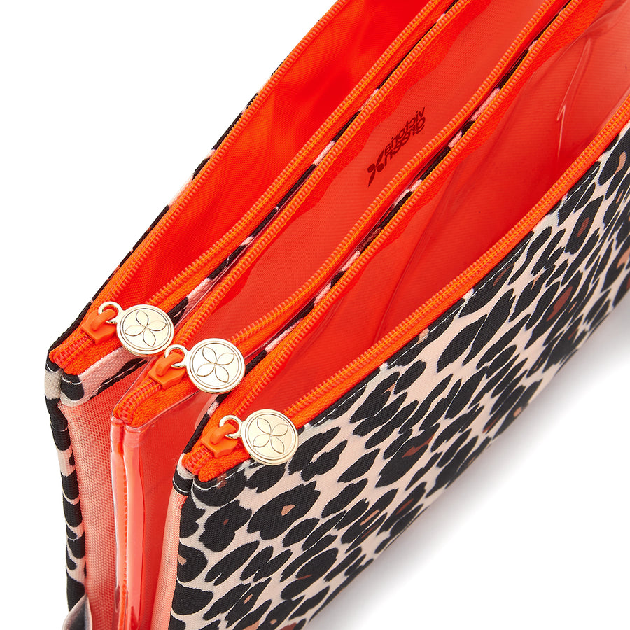 Amy travel makeup bag 3 in 1 with clear makeup bag in tan leopard