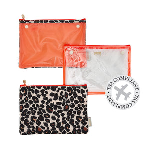 makeup bag with detachable TSA compliant clear makeup bag