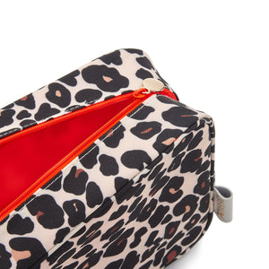 ladies wash bag detail leopard print tan bright orange lining