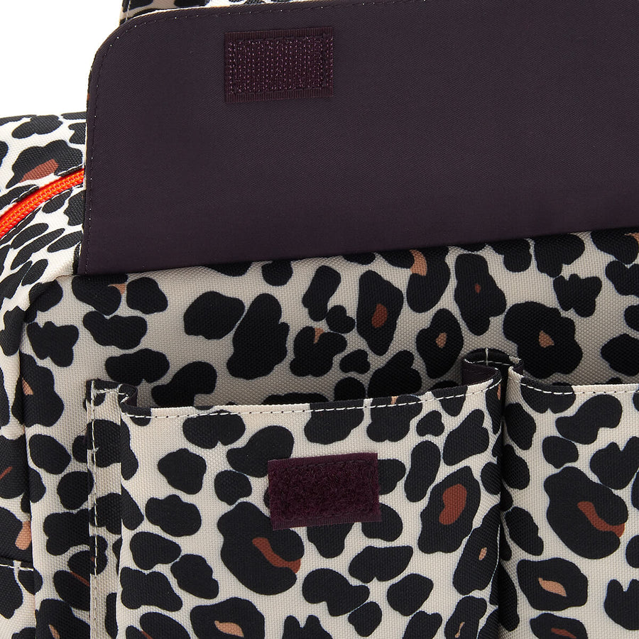 large wash bag with pocket tan leopard by Victoria Green