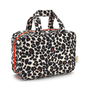 Hanging toiletry bag in tan leopard by Victoria Green