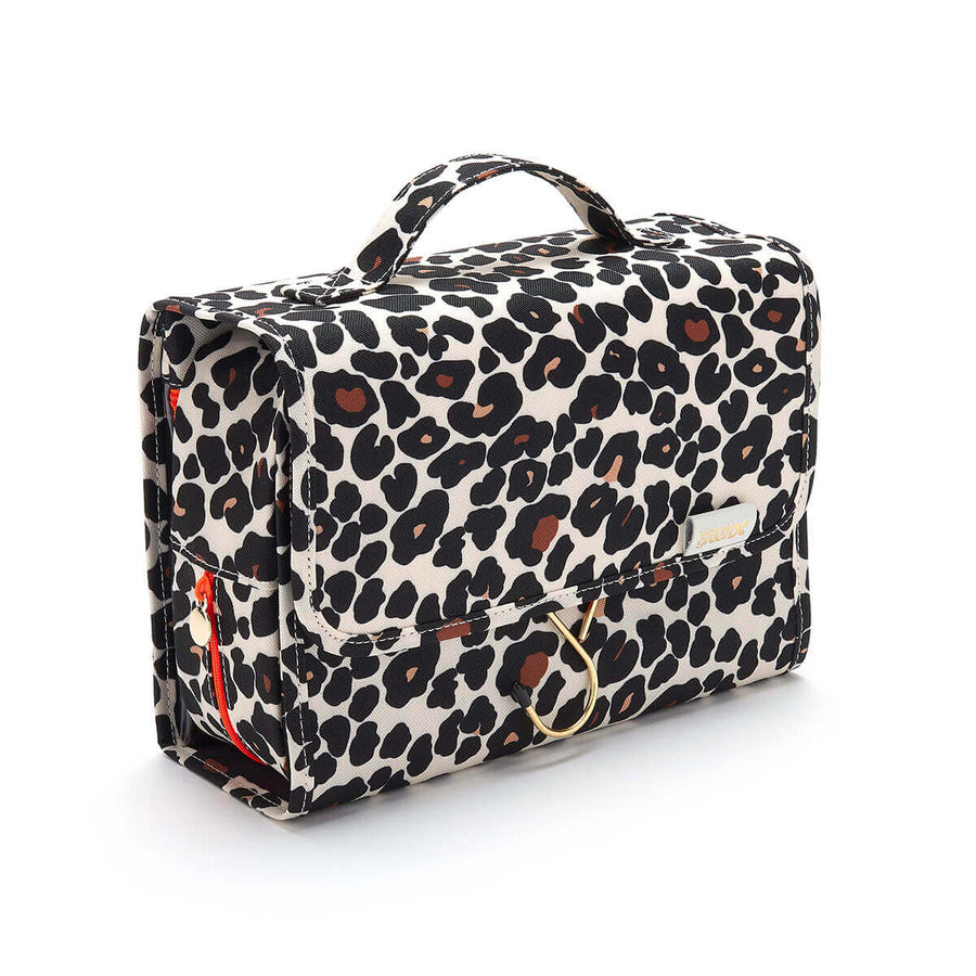 hanging wash bag toiletry bag for women leopard tan
