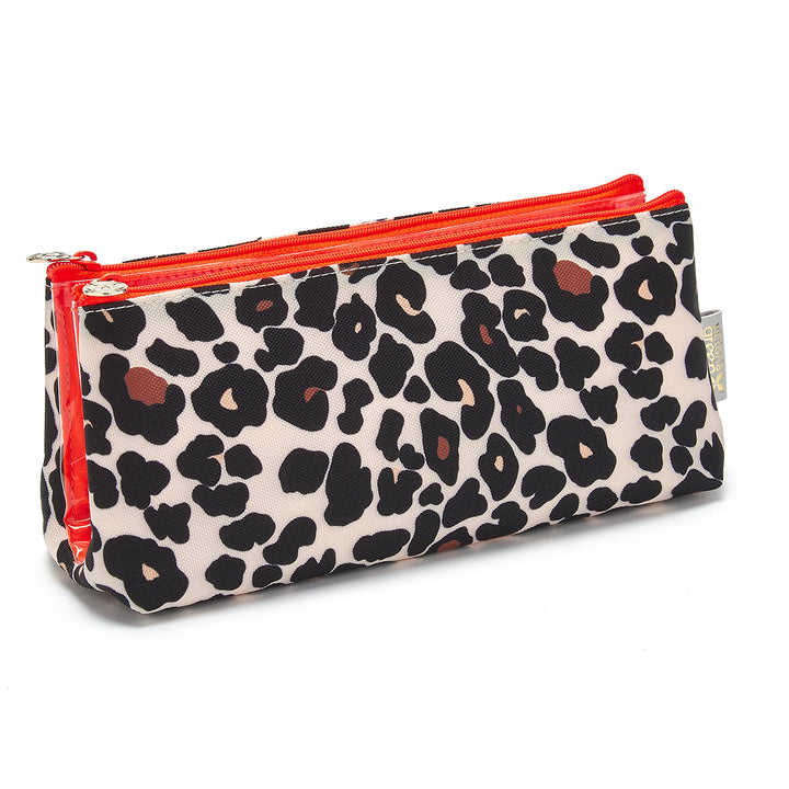 makeup bag with compartments in tan leopard by Victoria Green