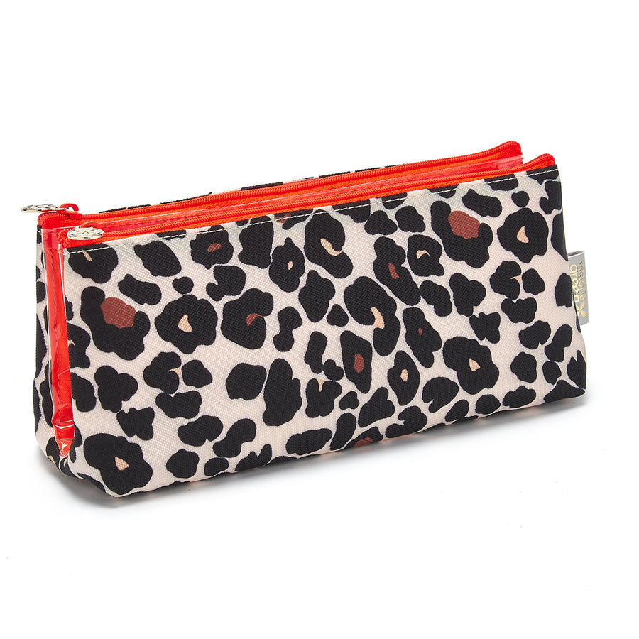 leopard print makeup bag with compartments